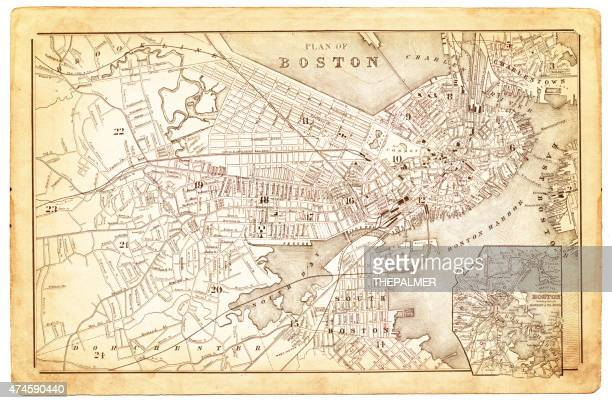 map of boston 1880 - boston massachusetts stock illustrations