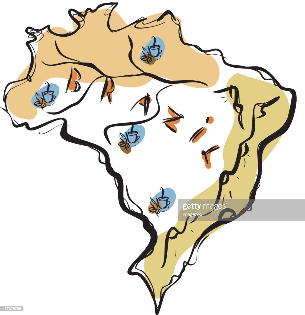 map of Brazil : Illustration
