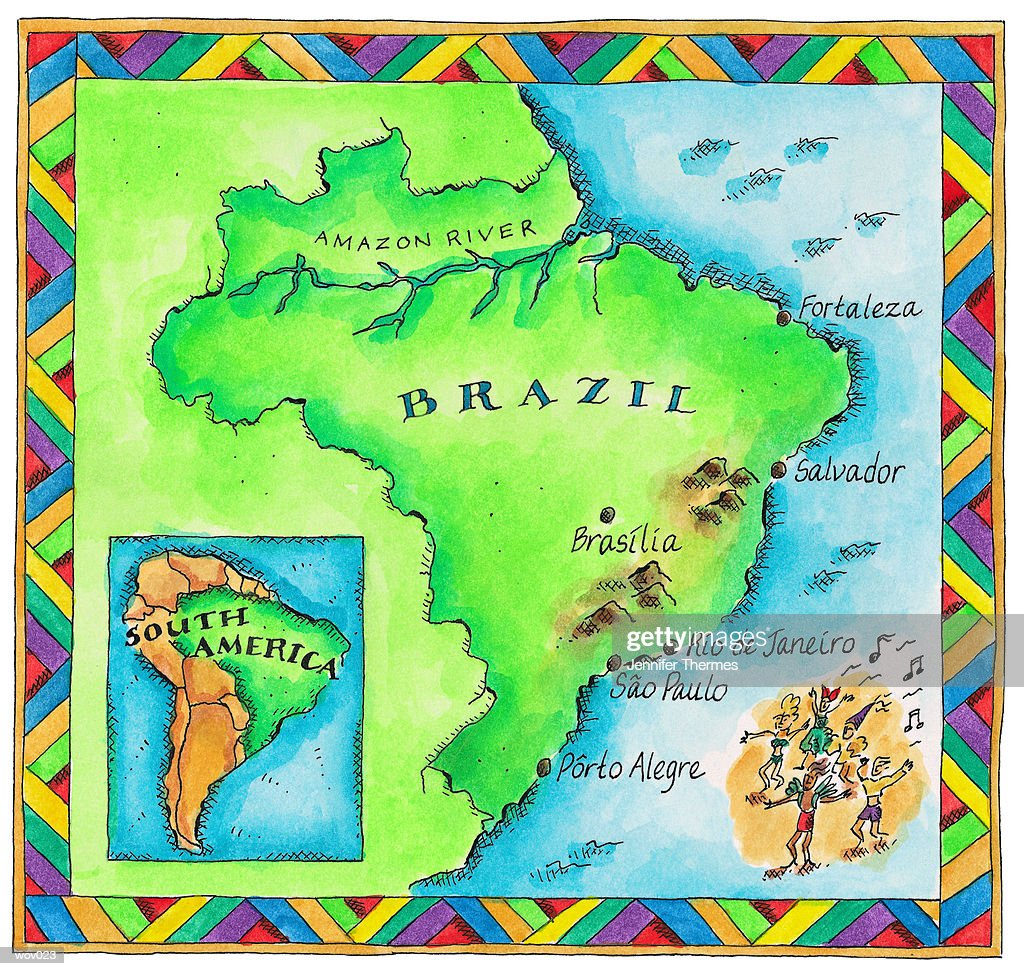 Map of Brazil : Stockillustraties
