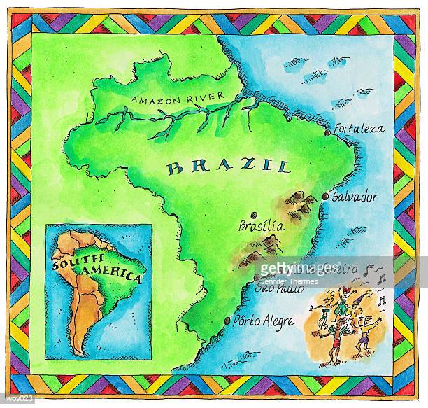 map of brazil - salsa music stock illustrations, clip art, cartoons, & icons