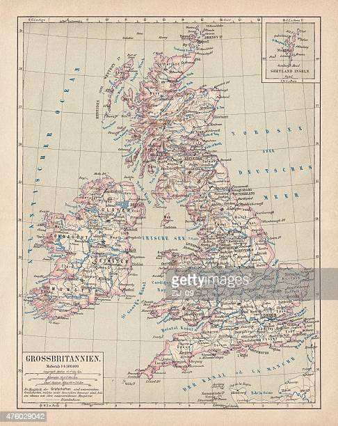 Map of British Isles, lithograph, lithograph, published in 1876
