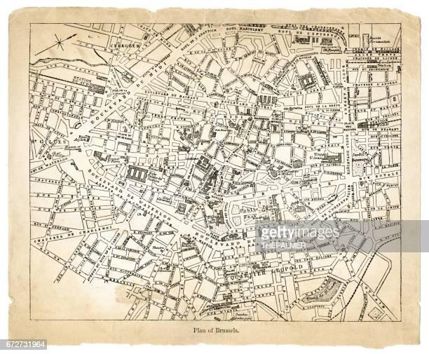stockillustraties, clipart, cartoons en iconen met kaart van brussel 1878 - brussels hoofdstedelijk gewest