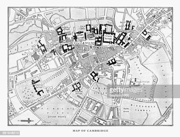 Map of Cambridge, Cambridgeshire, England Victorian Engraving, 1840