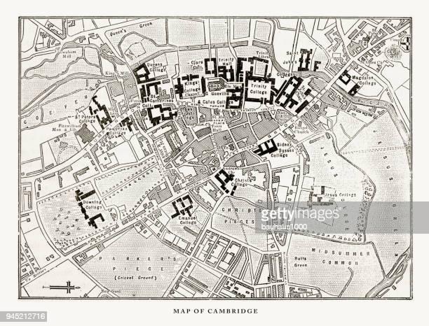 map of cambridge, cambridgeshire, england victorian engraving, 1840 - cambridge england stock illustrations