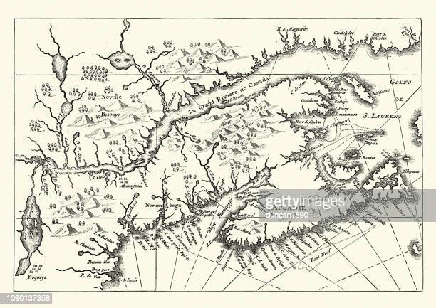 map of canada and nova scotia, 17th century - 1600s stock illustrations