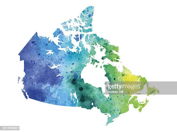 map of canada with watercolor texture - raster illustration - canada stock illustrations