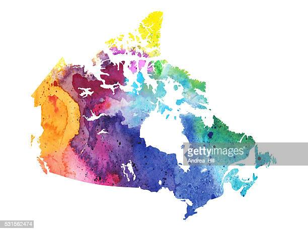 Map of Canada with Watercolor Texture - Raster Illustration