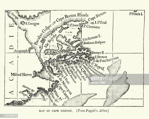 map of cape breton, early 18th century - cape breton island stock illustrations, clip art, cartoons, & icons