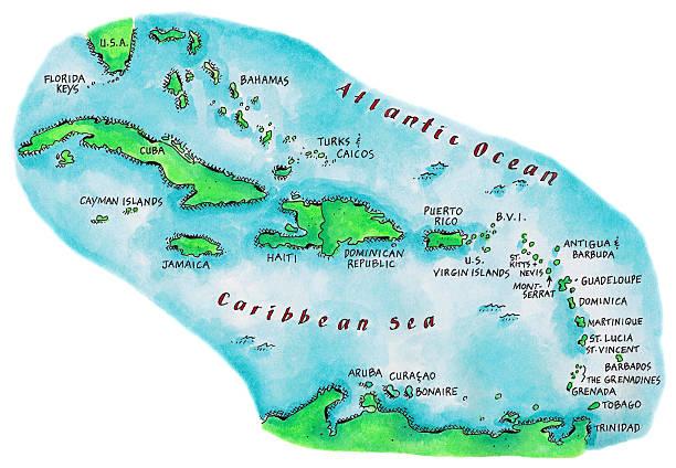 Map Of Caribbean Islands Wall Art