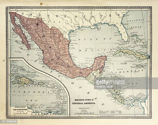map of central america 1884 - central america stock illustrations, clip art, cartoons, & icons