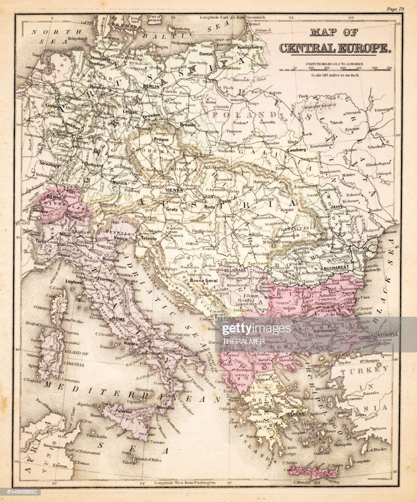Map Of Central Europe 1883 Stock Illustration | Getty Images