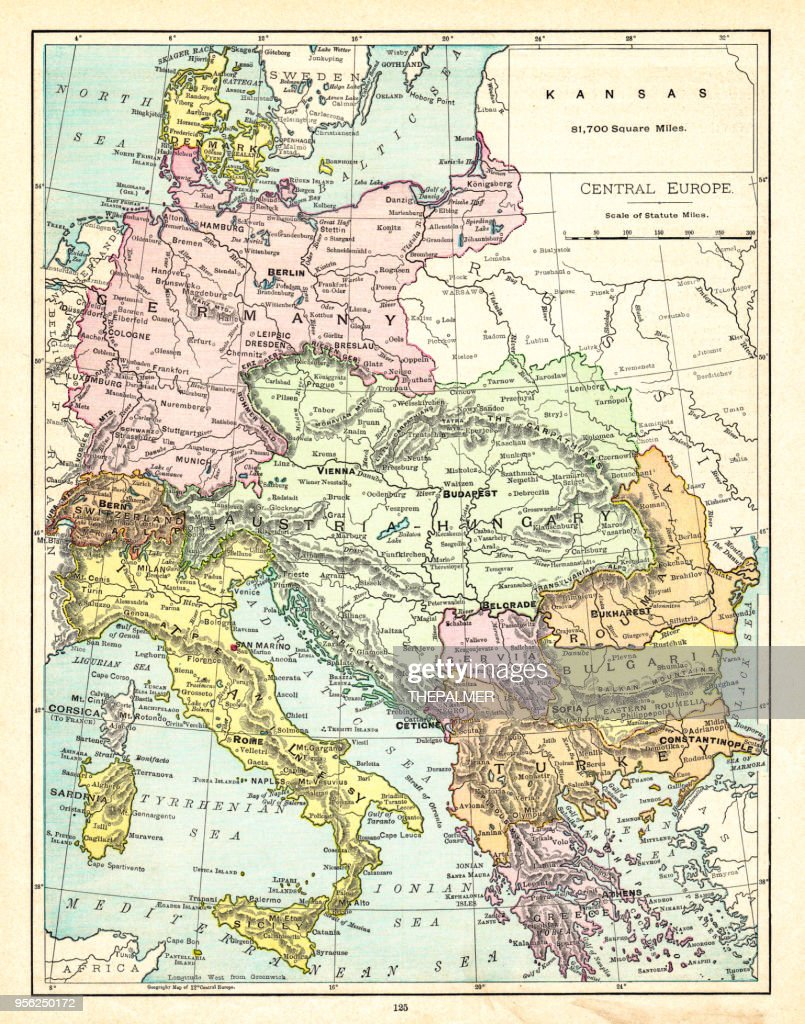 Map Of Central Europe 1895 High-Res Vector Graphic - Getty ...