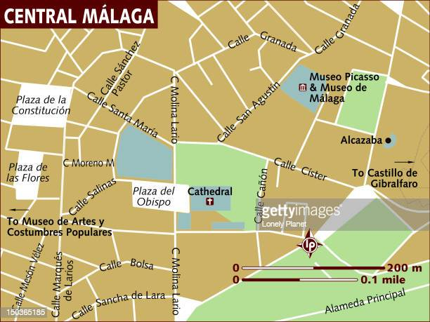 map of central malaga. - málaga province stock illustrations, clip art, cartoons, & icons