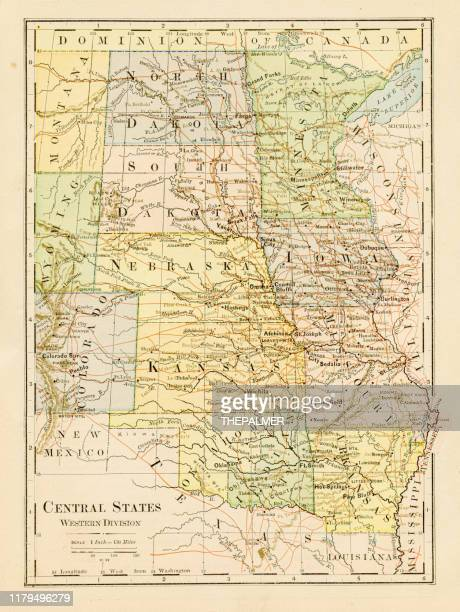 map of central states 1875 - kansas stock illustrations