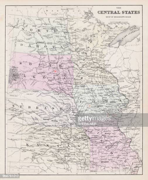 Map of central States USA 1877