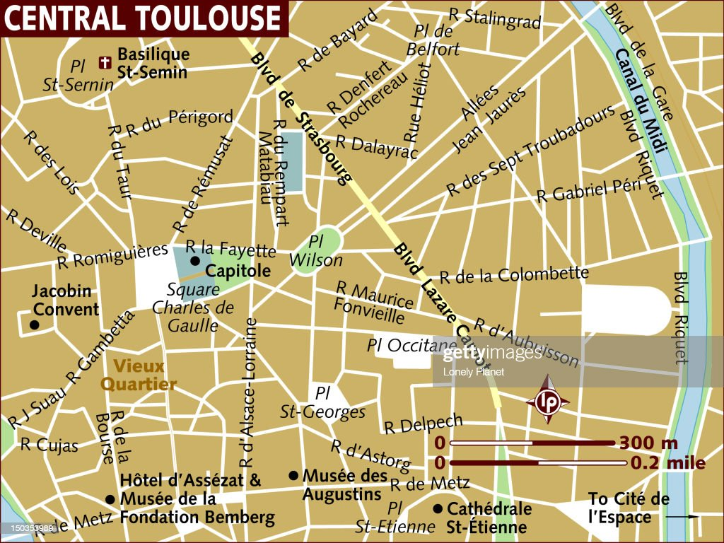 Map Of Central Toulouse Stock Illustration Getty Images