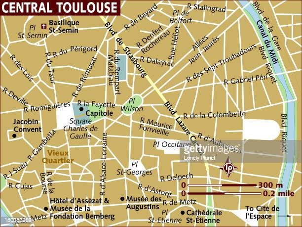 map of central toulouse. - toulouse stock illustrations, clip art, cartoons, & icons