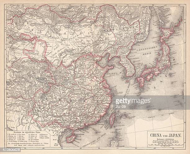 map of china and japan, lithograph, published in 1875 - sea of japan or east sea stock illustrations, clip art, cartoons, & icons