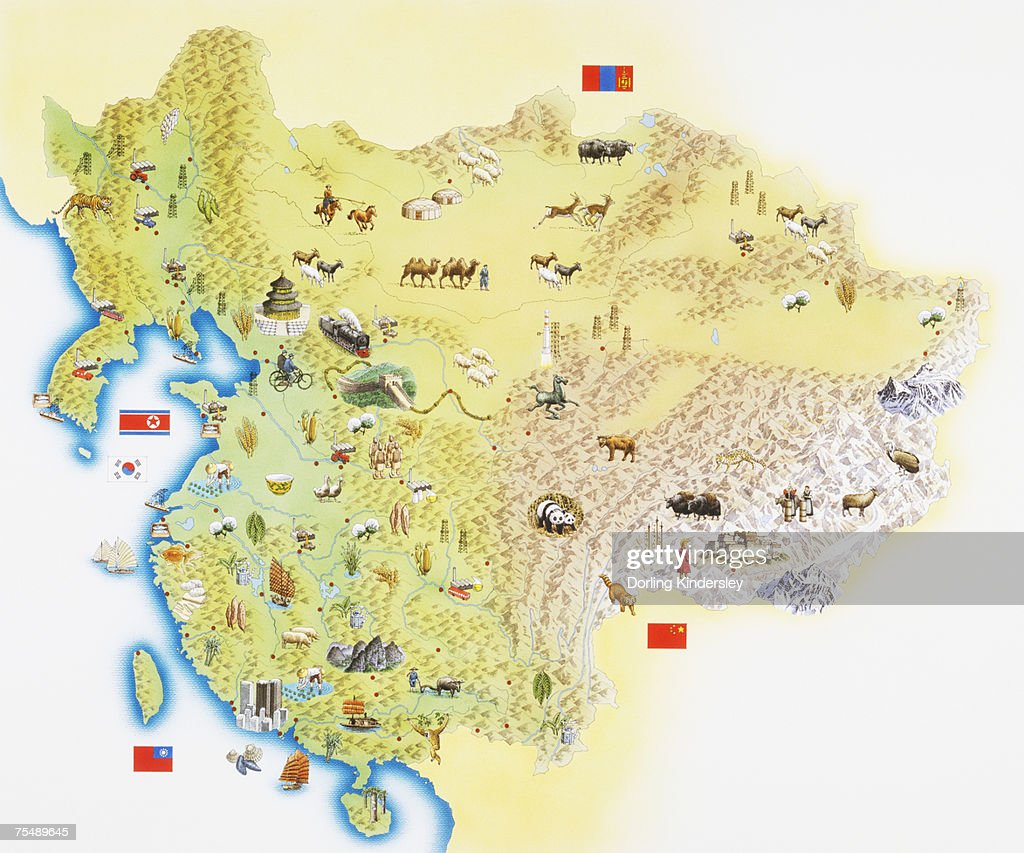 Map Of China And Northeastern Asia Stock Illustration Getty Images