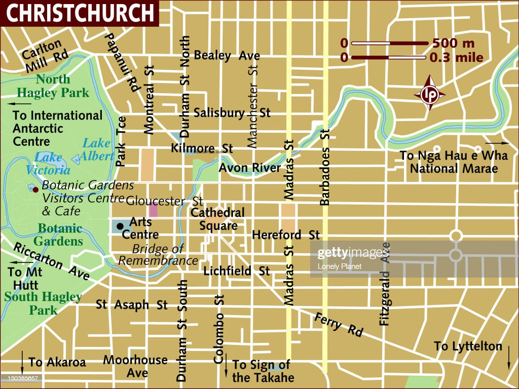 Map of Christchurch. : stock illustration