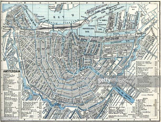 Map of city Amsterdam Netherlands from 1881