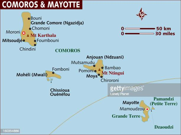 Map of Comoros and Mayotte.