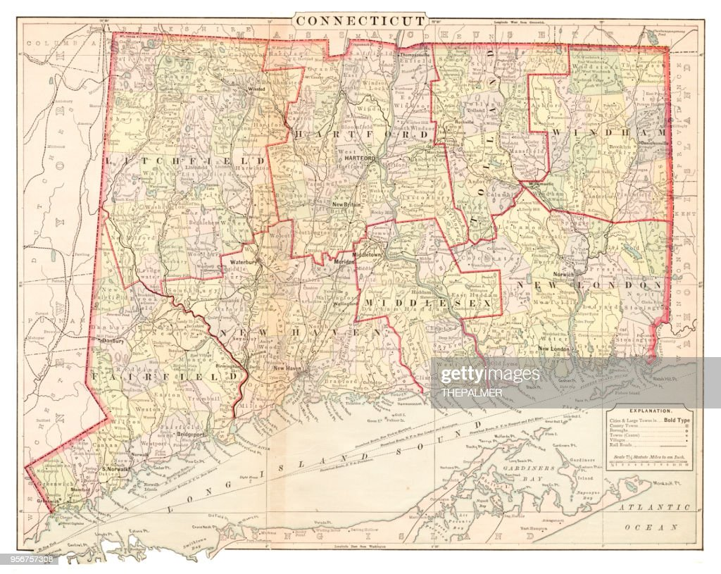 Map of Connecticut 1877 : stock illustration