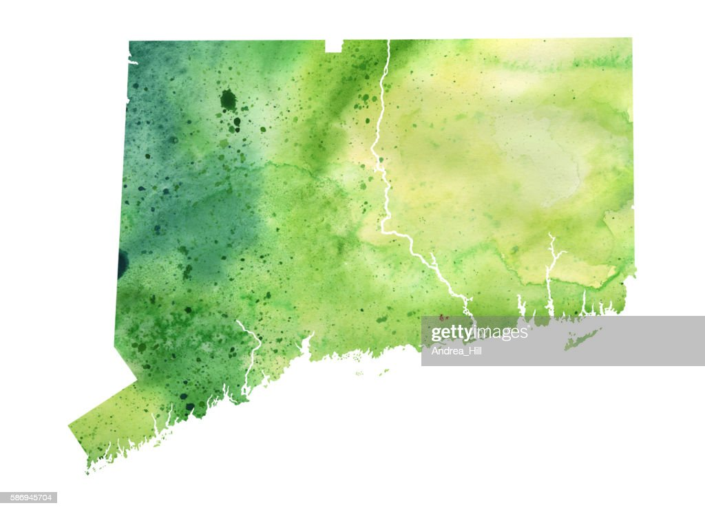 Map of Connecticut with Watercolor Texture - Raster Illustration : stock illustration