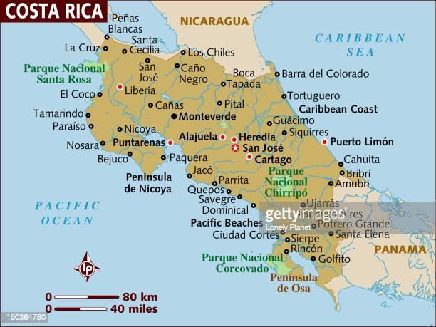 ilustraciones, imágenes clip art, dibujos animados e iconos de stock de map of costa rica. - playa tamarindo