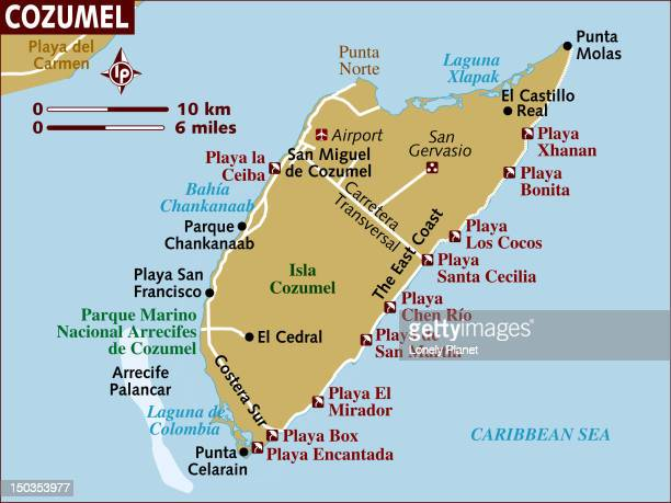 map of cozumel. - canary islands stock illustrations, clip art, cartoons, & icons
