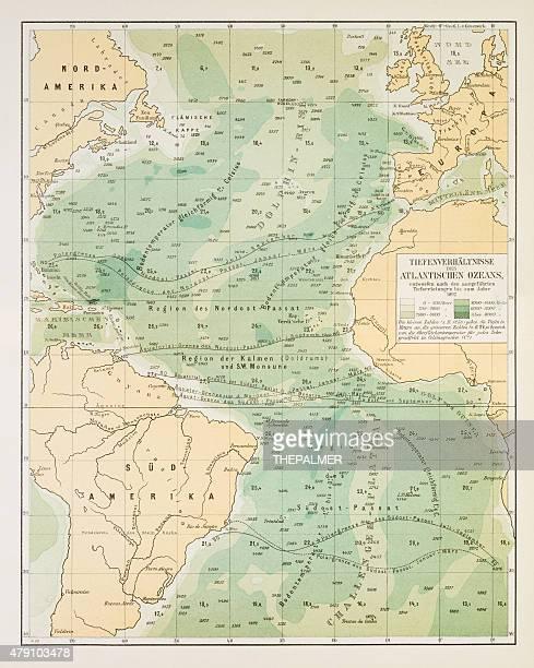 map of deep atlantic ocean 1895 - tide stock illustrations, clip art, cartoons, & icons