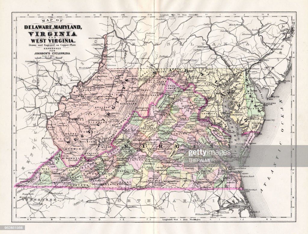 Map of Delaware Maryland Virginia 1894 : stock illustration