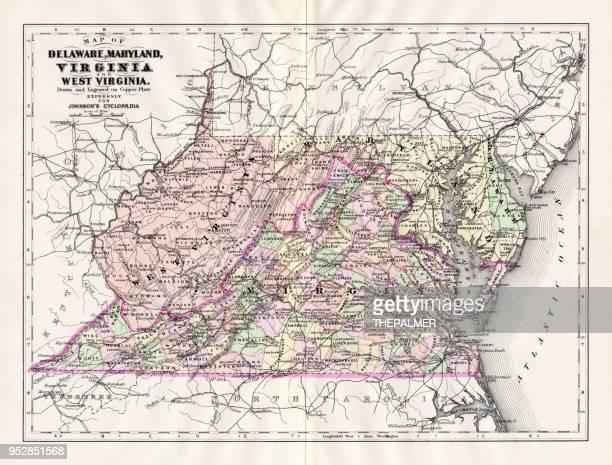 map of delaware maryland virginia 1894 - maryland stock illustrations, clip art, cartoons, & icons