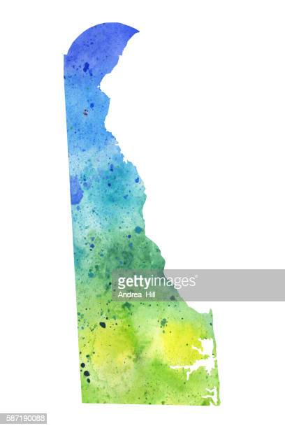 Map of Delaware with Watercolor Texture - Raster Illustration