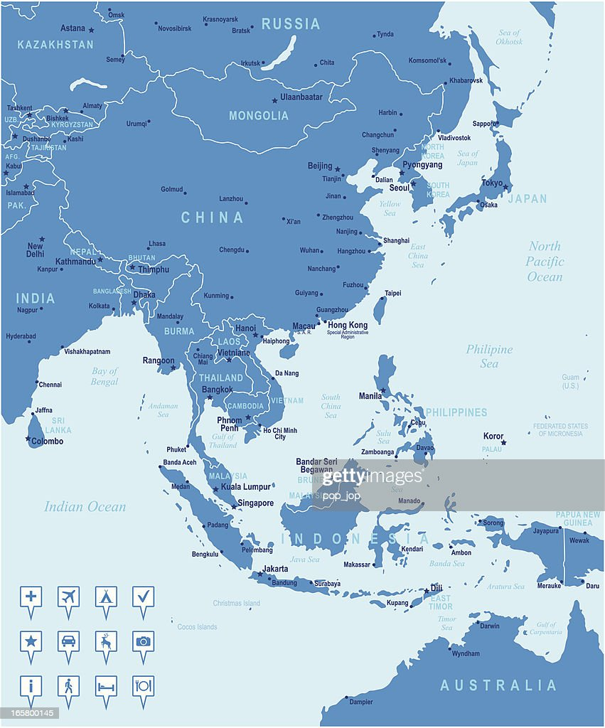 Map Of East Asia Countries Cities And Navigation Icons stock