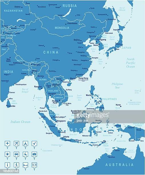 Map of East アジアの国、都市、ナビゲーションアイコン
