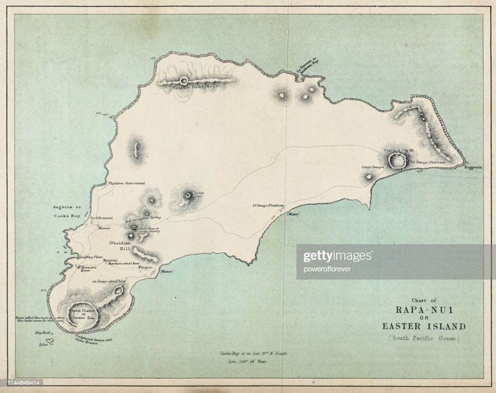 Map of Easter Island- 19th Century : Stock Illustration