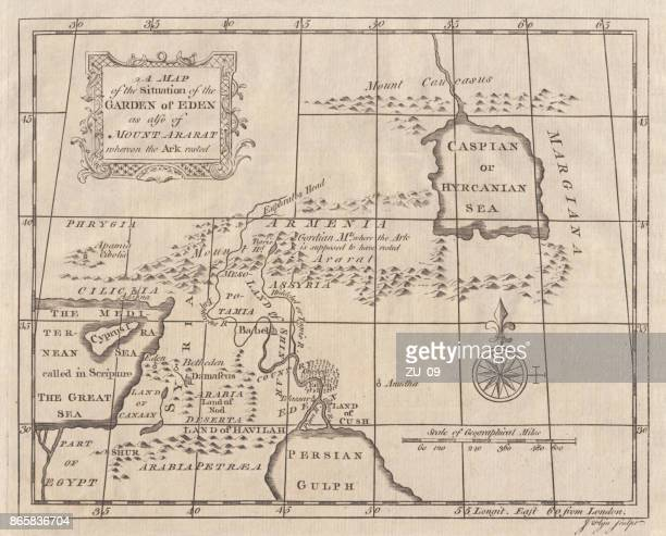 map of eden and mount ararat, copperplate engraving, published 1774 - ancient babylon stock illustrations