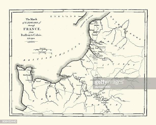 map of edward iii route through france - hundred years war stock illustrations, clip art, cartoons, & icons
