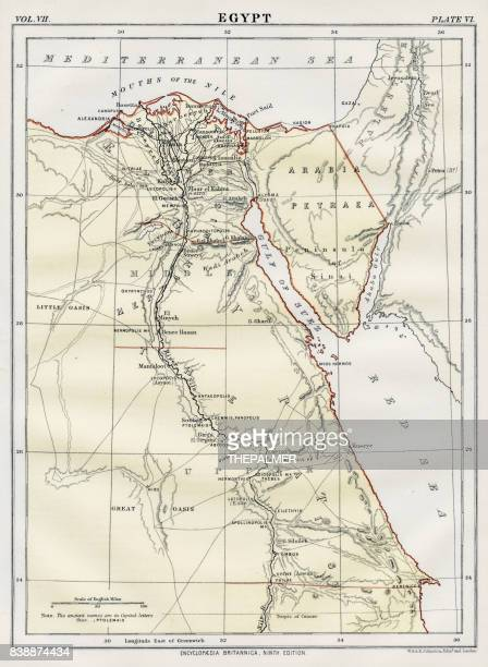 map of egypt 1883 - nile river stock illustrations, clip art, cartoons, & icons