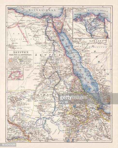 Map of Egypt, Darfur, and Abyssinia, lithograph, published in 1897