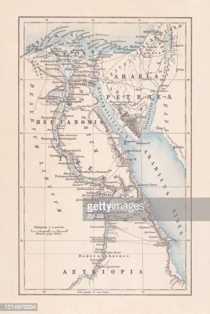 ilustraciones, imágenes clip art, dibujos animados e iconos de stock de mapa de egipto durante el imperio romano, litografía, publicado en 1893 - países del golfo