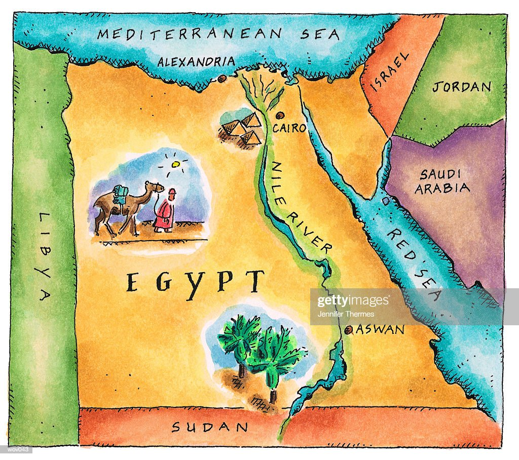 Map of Egypt : Stockillustraties