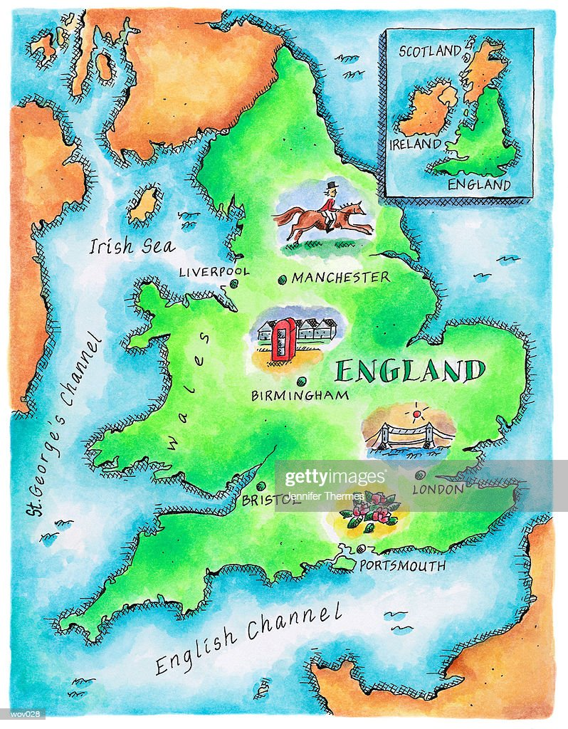 Map of England : Stockillustraties