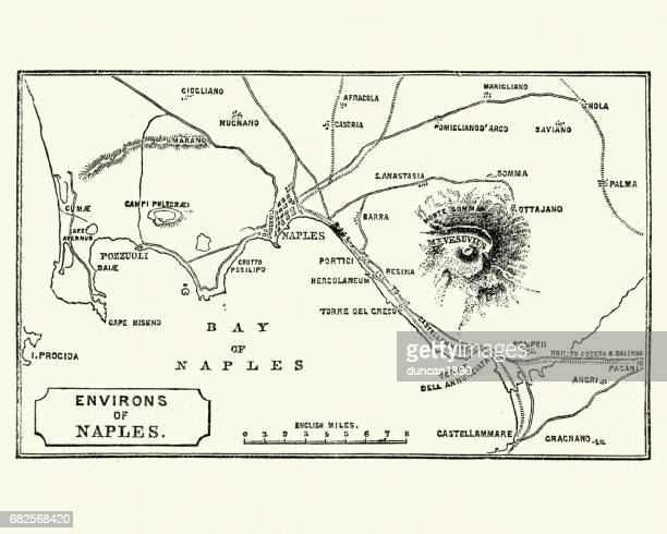 map of environs of naples and mount vesuvius 1872 - naples italy stock illustrations