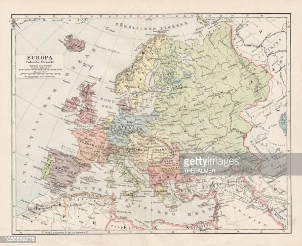 ilustrações de stock, clip art, desenhos animados e ícones de map of europe 1900 - europe