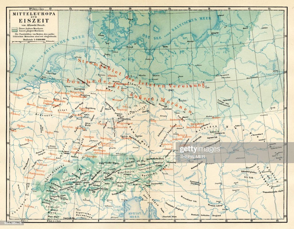 Map Of Europe During The Ice Age 1894 Stock Illustration Getty Images