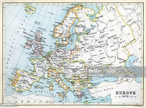 map of europe - hapsburg dynasty stock illustrations