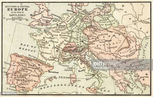 map of europe in the time of napoleon i 1881 - western europe stock illustrations