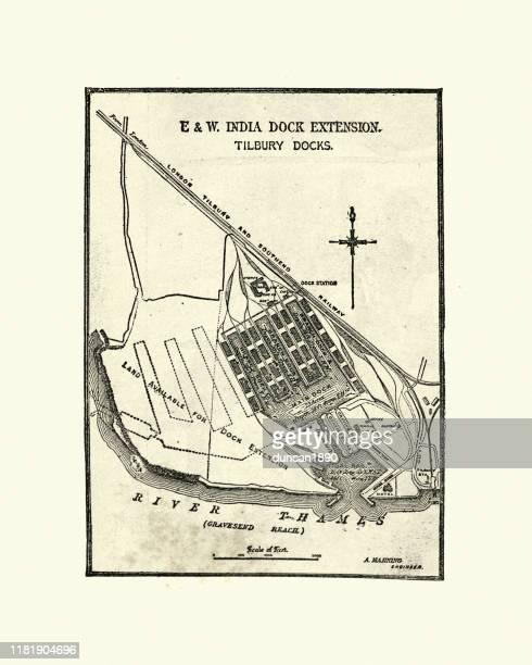 e&wインドドックエクステンション地図、ティルベリードック、19世紀 - テムズ川点のイラスト素材/クリップアート素材/マンガ素材/アイコン素材